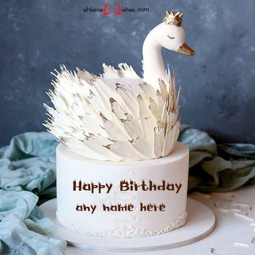 Ảnh bánh sinh nhật ngộ nghĩnh hình thiên nga trắng