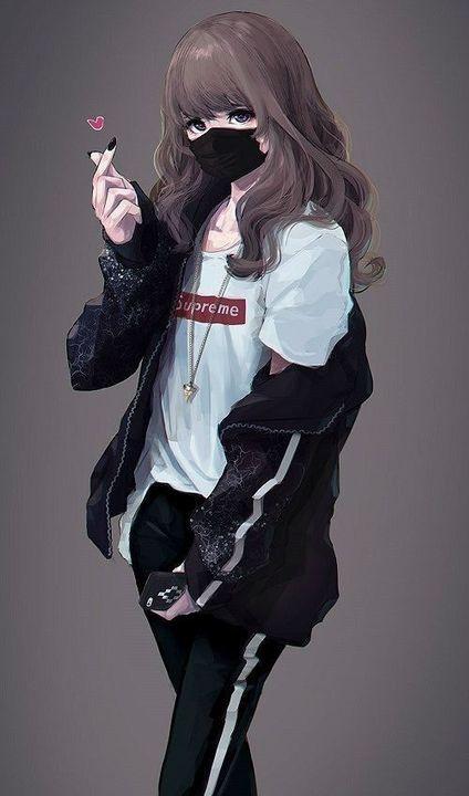 Tải ảnh anime nữ ngầu đeo khẩu trang cực kool