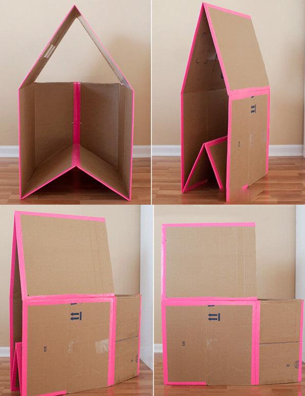 Bước 10 cách làm nhà bằng giấy cứn - Vậy là đã hoàn thành, bạn có thể gập ngôi nhà một cách dễ dàng khi con đã chơi xong