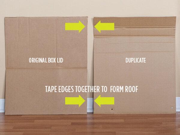 Bước 5 cách làm nhà bằng bìa carton cho bé - Sử dụng phần bìa giấy cắt dư ở bước 3 để làm mái nhà