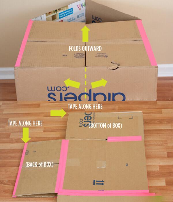 Bước 9 cách làm nhà bằng thùng giấy - Dán băng dính vào các vị trí mà bạn vừa cắt ở bước 8