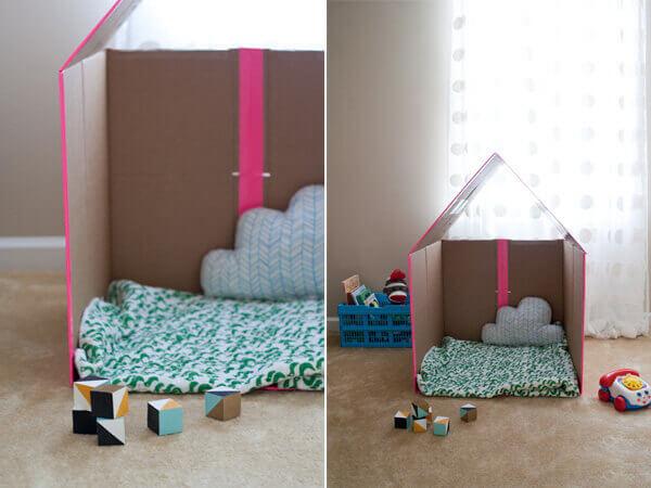 Cách làm nhà bằng giấy thùng carton của chúng tôi sau khi hoàn thành