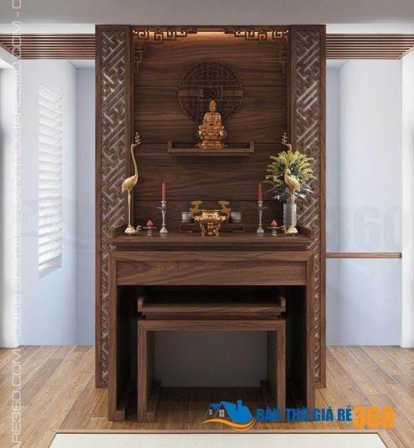 Mẫu bàn thờ treo - Bàn thờ đứng kết hợp khung gỗ chắc chắn