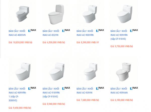 Giá một vài loại bồn cầu của thương hiệu Inax