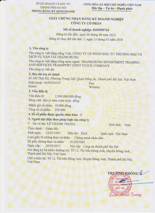 Giấy phép đăng ký kinh doanh taxi tải Thành Hưng