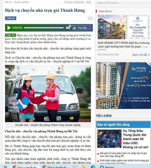 Taxi tải Thành Hưng có mặt trên các báo nổi tiếng
