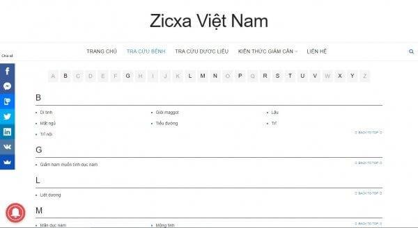 Zixca mục tra cứu bệnh