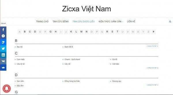 Zixca mục tra cứu dược liệu