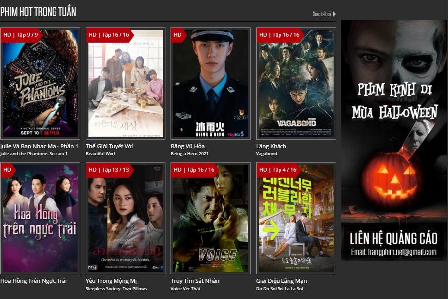 """Phim FULL HD - Theo quan điểm cá nhân của mình thì bên trangphim.net nhìn """"sang – xịn"""" dã man, poster phim nhiều nhưng không quá ngộp, thông tin phim cụ thể, dễ tìm. Nhiều tag và có sự phân chia gọn gàng, quảng cáo ít nhưng cũng bắt trend, nhìn chung giao diện xinh xẻo, thân thiện."""