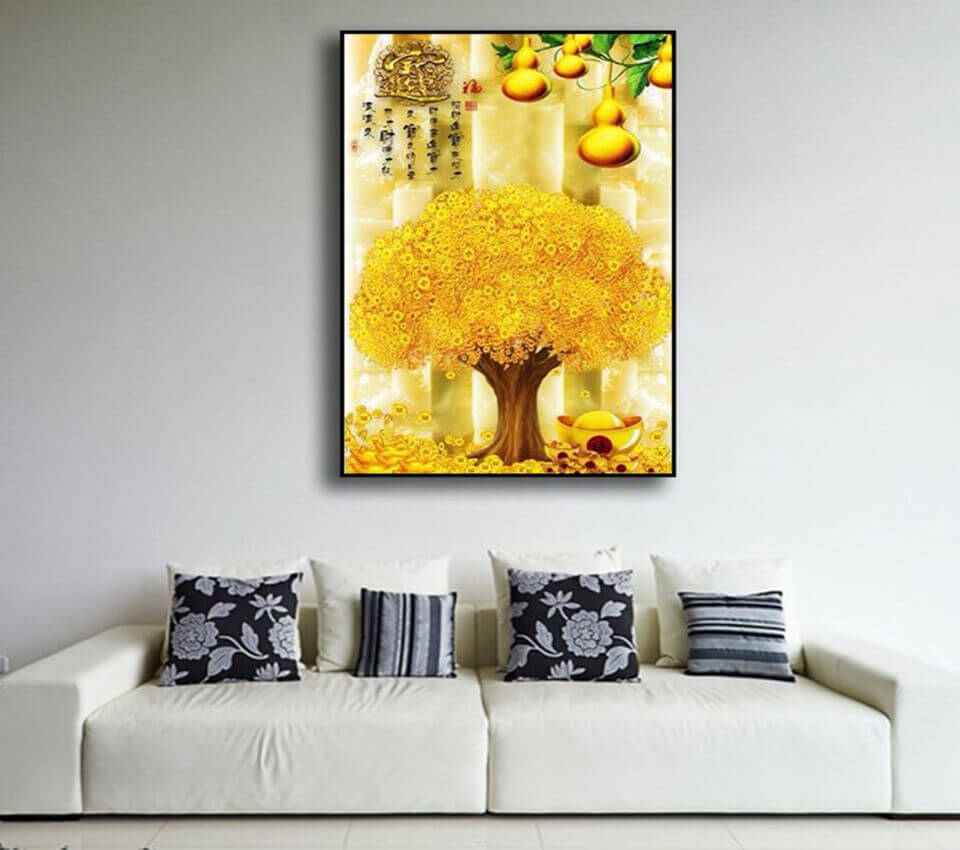 Quà tết doanh nghiệp tiền và lộc với tranh treo tường Cây Đồng Tiền và Hồ Lô Vàng
