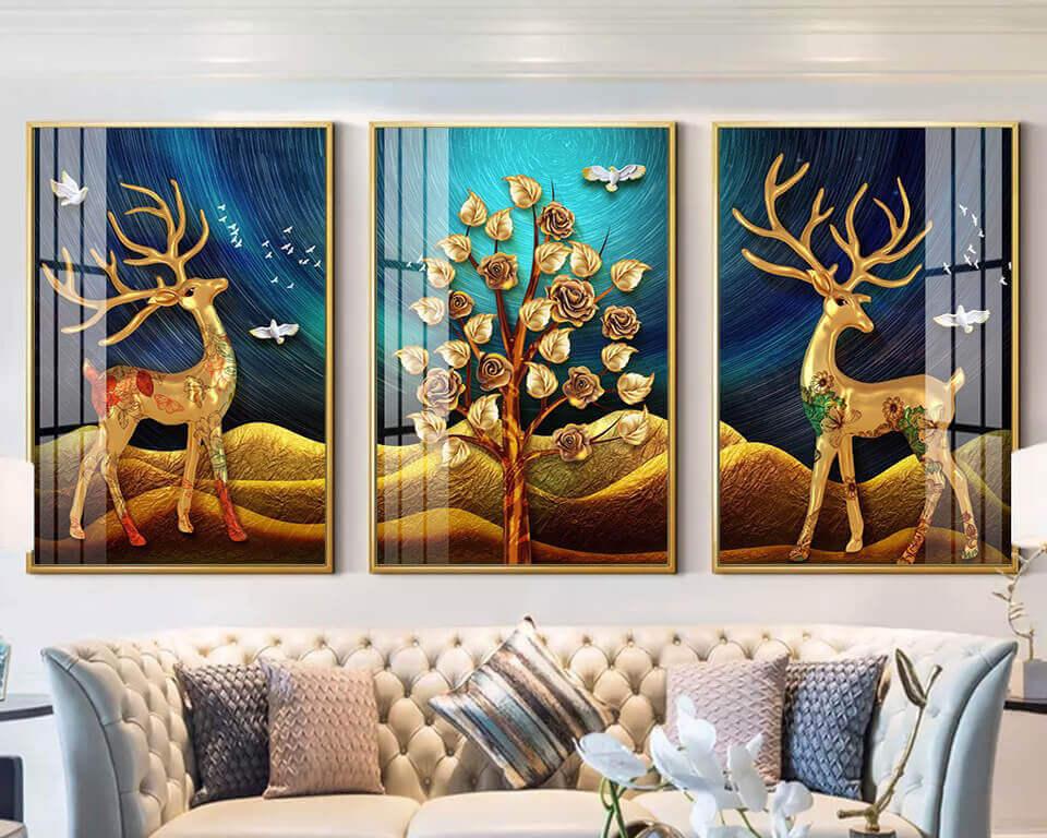 Tặng tranh treo tường Hươu Vàng Tài Lộc mang vàng đến cho doanh nghiệp