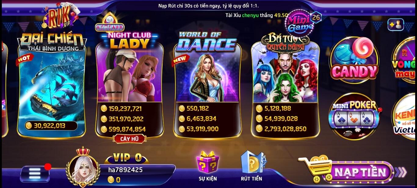 Cổng game RikVIP với nhiều tựa game slot hấp dẫn