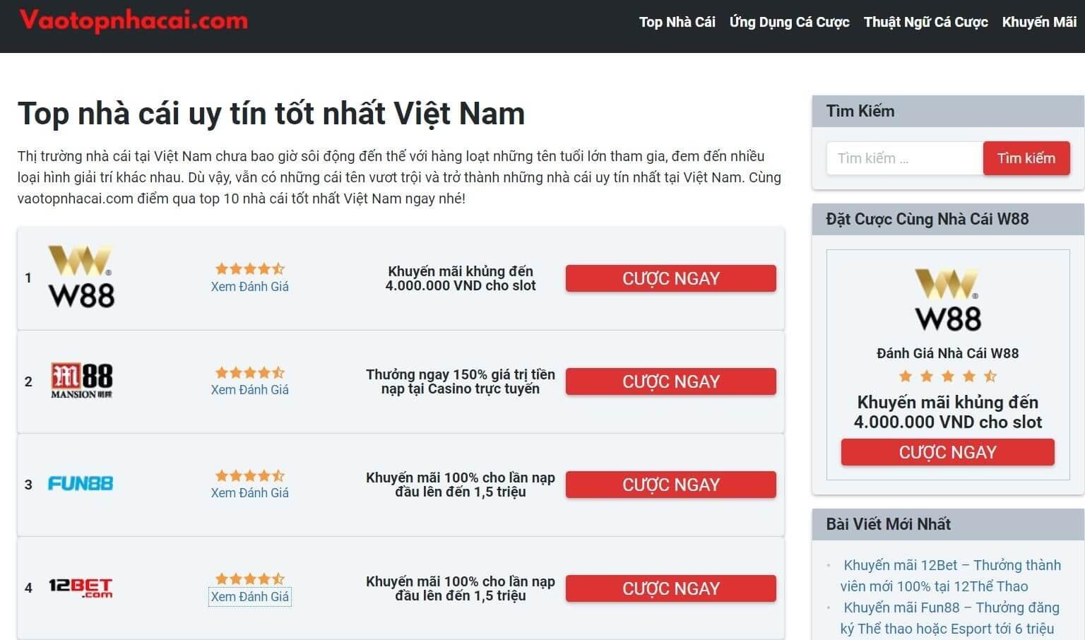 Khám phá website vaotopnhacai.com
