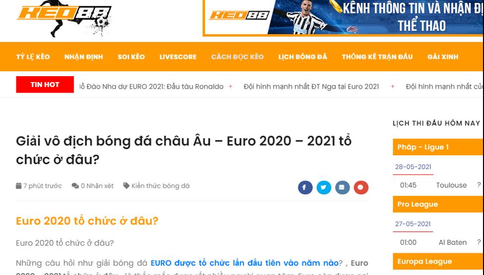 Soi kèo Euro miễn phí chuẩn 2021