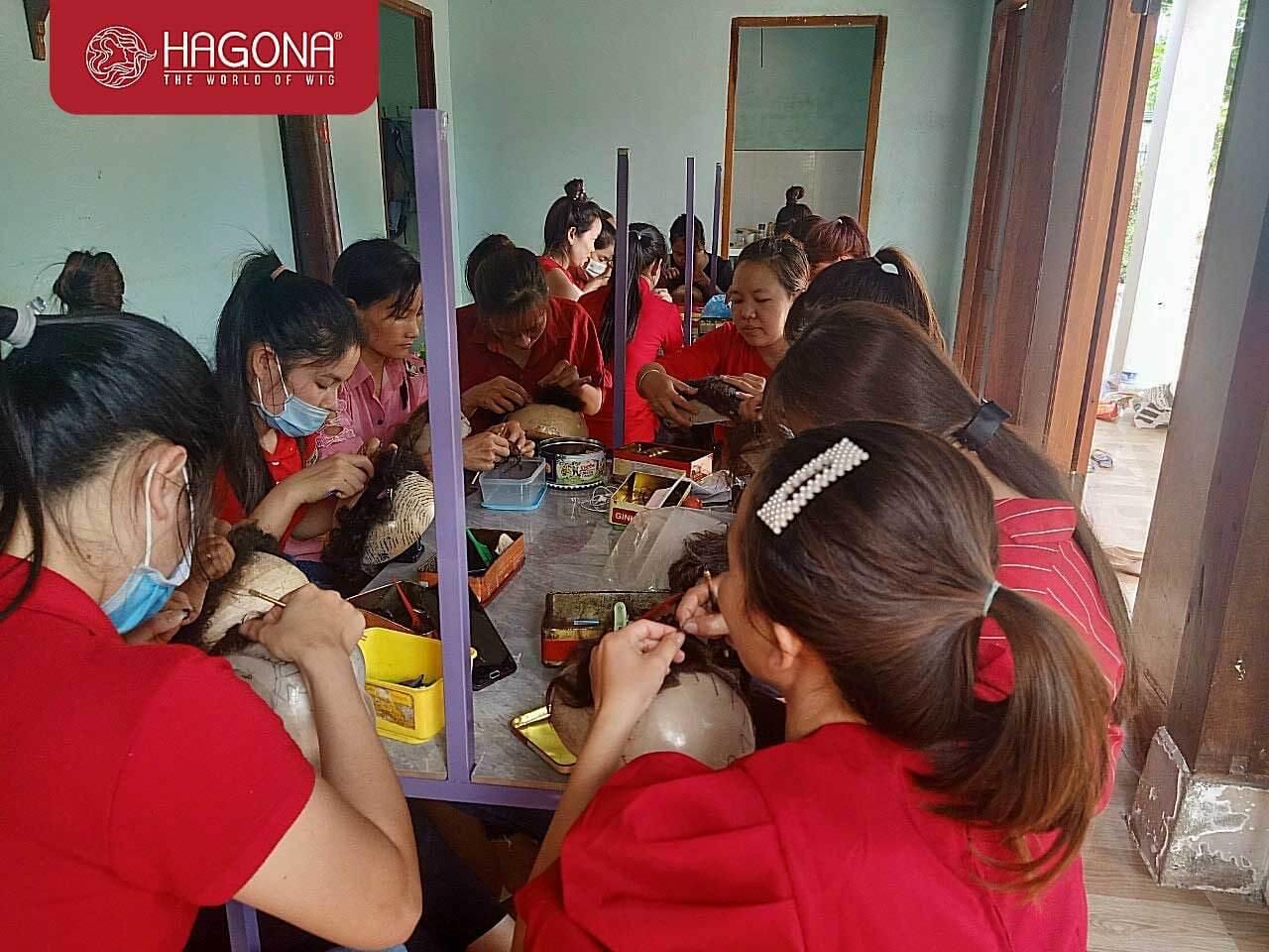 Quy trình móc tóc giả tại Hagona